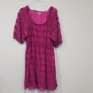 Umgee pink BOHO lace dress plus size 2X